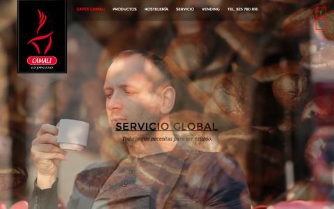 Screenshot of Home Page cafescamali.com - Cafés Camali S.L. Proveedor de café, maquinaria para bares, cafeterías y Restaurantes - captured March 13, 2016