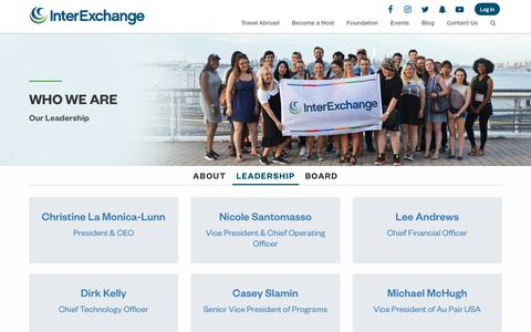 Screenshot of Team Page interexchange.org - Leadership · Who We Are - captured July 9, 2018