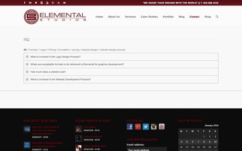 Screenshot of FAQ Page elementalstudios.us - Our Frequently Asked Questions - captured Jan. 27, 2016