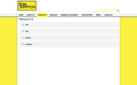 Screenshot of Products Page zimswitch.co.zw - PRODUCTS | Switching you on to financial flexibility! - captured Oct. 27, 2014