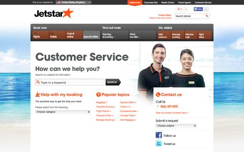 Screenshot of Contact Page Support Page jetstar.com - Customer Service - captured Oct. 26, 2014
