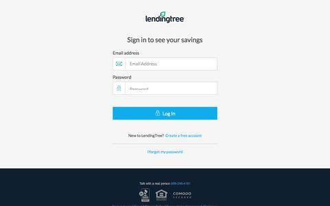 Screenshot of Login Page lendingtree.com - My LendingTree Sign-In - captured Sept. 16, 2018