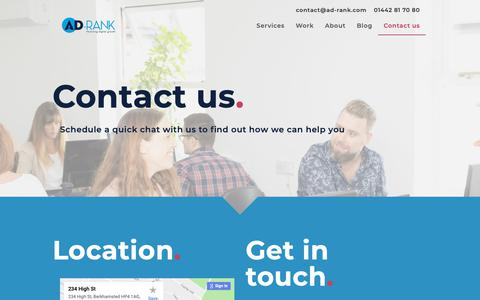 Screenshot of Contact Page ad-rank.com - Contact Ad-Rank Online Marketing Agency Berkhamsted, Hertfordshire - captured Nov. 17, 2018
