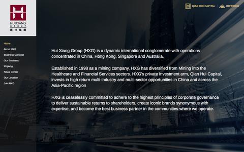 Screenshot of Home Page huixgp.com - Hui Xiang Group | Home - captured Oct. 3, 2014