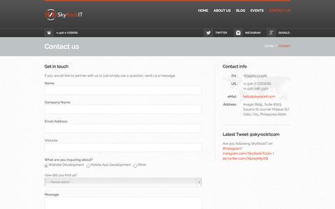 Screenshot of Contact Page skyrockit.com - Contact Us - SkyRockIT - captured Oct. 28, 2014