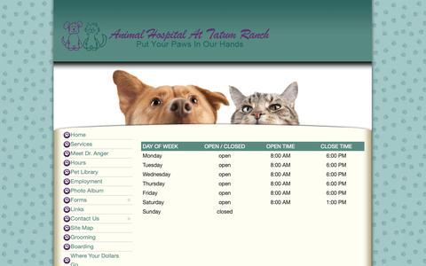 Screenshot of Hours Page tatumranchvet.com - Hours - captured Oct. 3, 2018