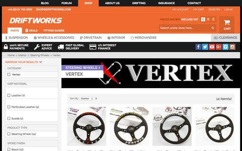 Screenshot of driftworks.com - Genuine Vertex Steering Wheels in stock in the UK, with worldwide shipping available. - captured Aug. 12, 2017