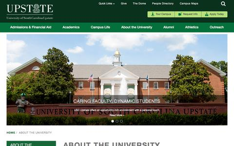 Screenshot of About Page uscupstate.edu - About the University | USC Upstate - captured July 26, 2018
