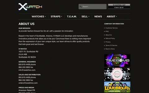 Screenshot of About Page xwatchco.com - About Us - X-Watch - captured Oct. 4, 2014