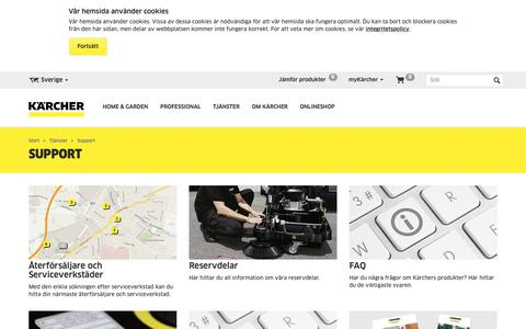 Screenshot of Support Page kaercher.com - Support, återförsäljare eller serviceverkstäder    Kärcher - captured Oct. 16, 2018