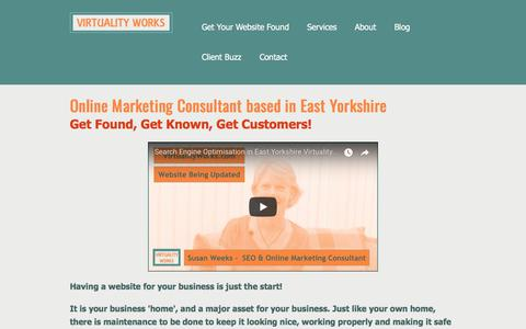 Screenshot of Home Page virtualityworks.com - Online Marketing Consultant In East Yorkshire | Online Marketing Consultant based in East Yorkshire - captured Sept. 21, 2018