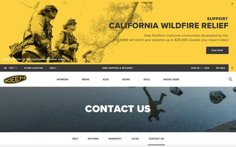 Screenshot of Contact Page keenfootwear.com - Contact Us: Phone Number, Address, and Email | KEEN Footwear - captured Oct. 16, 2017