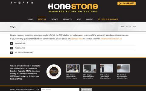 Screenshot of FAQ Page honestone.com.au - FAQ'S - POLISHED CONCRETE - captured Nov. 10, 2016