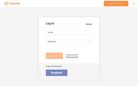 Screenshot of Login Page viboom.com - Viboom | Promote Your Video Easily - captured Oct. 19, 2018