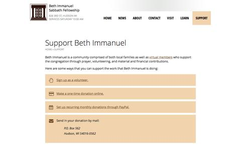 Screenshot of Support Page bethimmanuel.org - Support Beth Immanuel | Beth Immanuel Sabbath Fellowship - captured Nov. 22, 2016