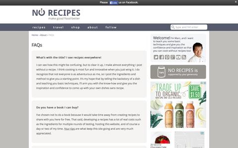 Screenshot of FAQ Page norecipes.com - FAQs - No Recipes - captured Sept. 22, 2014