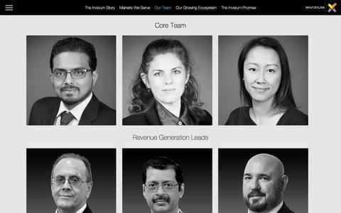 Screenshot of Team Page invixium.com - The Invixium Team - captured Sept. 20, 2018