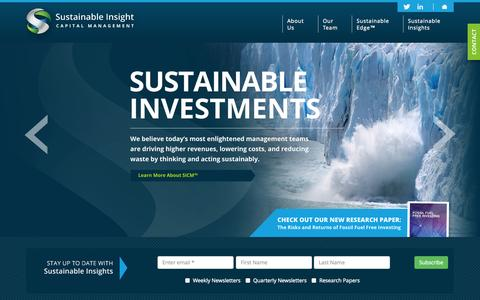 Screenshot of Home Page sicm.com - Sustainable Insight Capital Management - captured Oct. 7, 2014