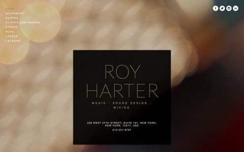 Screenshot of Home Page royharter.com - Roy Harter - captured Oct. 16, 2015