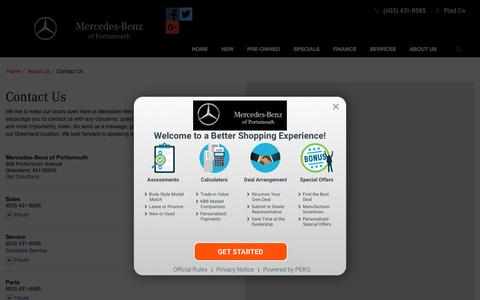 Screenshot of Contact Page Maps & Directions Page mbportsmouth.com - Contact Mercedes-Benz of Portsmouth in Greenland New Hampshire - captured Feb. 28, 2018