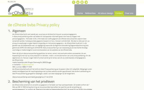 Screenshot of Privacy Page decohesie.be - de cOhesie   Web design   logo design   graphic design   Brugge - captured Aug. 9, 2018