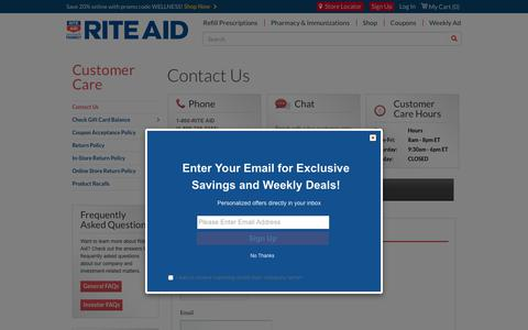 Screenshot of Contact Page riteaid.com - Contact Us - Rite Aid - captured March 10, 2019