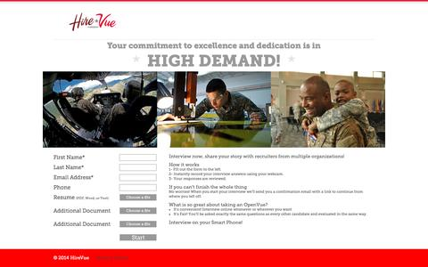 Screenshot of Landing Page hirevue.com - HireVue Military Digital Interviews - captured Aug. 19, 2016