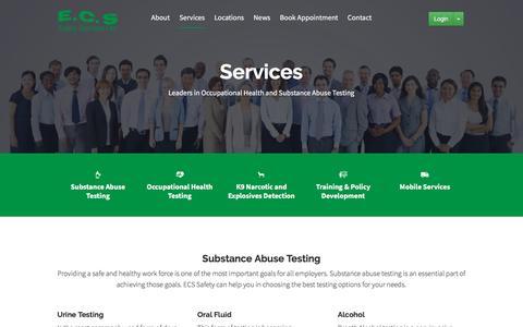 Screenshot of Services Page ecssafety.com - Services – ECS Safety Service - captured Oct. 5, 2016