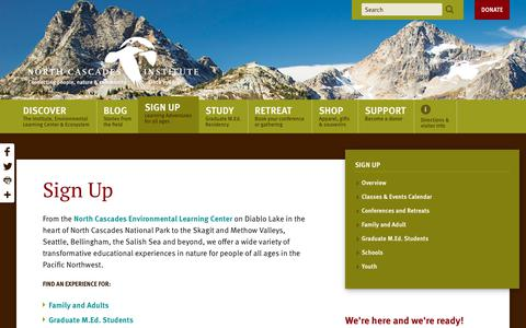 Screenshot of Signup Page ncascades.org - Sign Up — North Cascades Institute - captured Oct. 18, 2018
