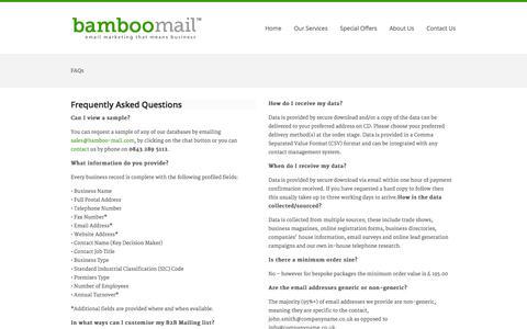Screenshot of FAQ Page bamboo-mail.com - FAQs «  Bamboo-mail - captured Sept. 30, 2014