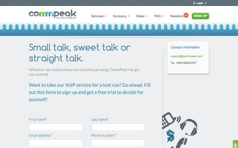 Screenshot of Signup Page Trial Page commpeak.com - Client Signup - captured Oct. 23, 2014