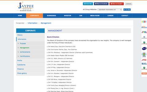 Screenshot of Team Page jalindia.com - Jaypee Group   Management - captured Aug. 27, 2016