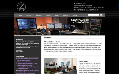 Screenshot of Services Page zsyst.com - Services - Z Systems, inc. - captured Oct. 27, 2014