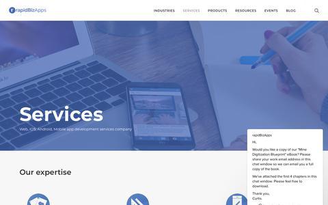 Screenshot of Services Page rapidbizapps.com - rapidBizApps says… - captured Sept. 21, 2018