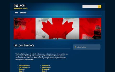 Screenshot of Home Page biglocal.ca captured Oct. 8, 2014