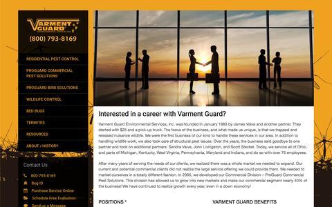 Screenshot of Jobs Page varmentguard.com - Varment Guard Pest Control Careers - captured Feb. 13, 2016