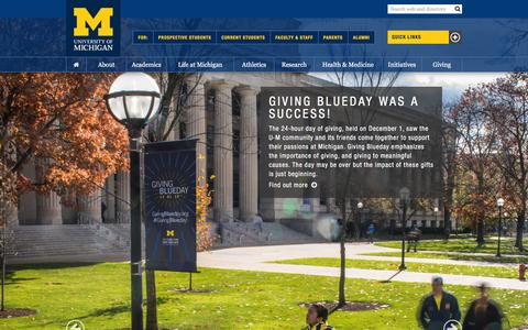 Screenshot of Home Page umich.edu - University of Michigan - captured Dec. 2, 2015
