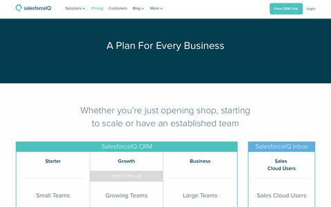 Screenshot of Pricing Page salesforceiq.com - Pricing and Plans to Grow with Your Business - captured March 10, 2016