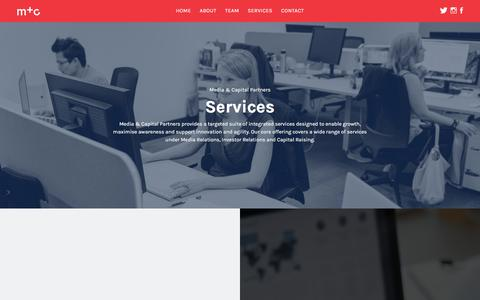 Screenshot of Services Page mcpartners.com.au - Services | Media  & Capital Partners - captured Feb. 12, 2016