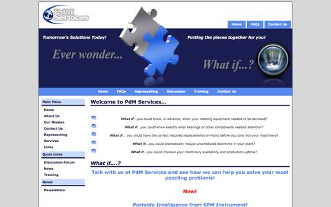Screenshot of Home Page pdmsvc.com - PdM Services -  Condition Based Monitoring Solutions - captured Oct. 2, 2014