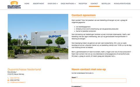 Screenshot of Contact Page dupontcheese.nl - Contact   Dupontcheese Nederland Dupontcheese Nederland - captured Sept. 25, 2018