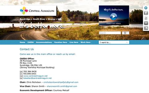 Screenshot of Contact Page Maps & Directions Page centralalmaguin.net - Contact Us   Central Almaguin Economic Development Association (CAEDA) - captured Nov. 29, 2018