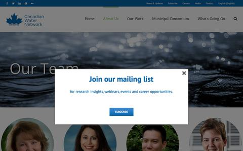 Screenshot of Team Page cwn-rce.ca - Our Team – Canadian Water Network - captured Nov. 10, 2018