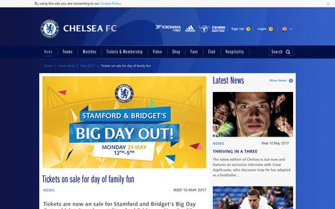 Screenshot of chelseafc.com - Tickets on sale for day of family fun   News   Official Site   Chelsea Football Club - captured May 10, 2017