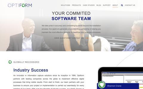 Screenshot of About Page optiform.com - Optiform - captured Oct. 19, 2018