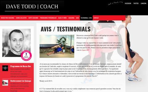 Screenshot of Testimonials Page davetoddpt.co.uk - Customer Testimonials | Dave Todd - Online Fitness Instructor - captured Oct. 12, 2017