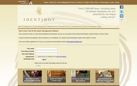 Screenshot of Trial Page identidot.com - Identidot Coding Services - Asset Management Portal Trial Registration - captured Sept. 30, 2014