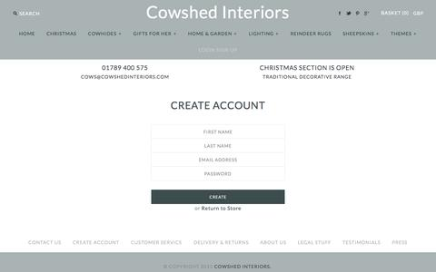 Screenshot of Signup Page cowshedinteriors.com - Create Account - captured Dec. 13, 2015