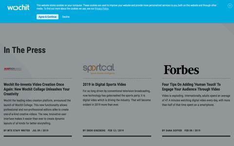 Screenshot of Press Page wochit.com - Press | Wochit Online Video Creation Platform - captured July 25, 2019