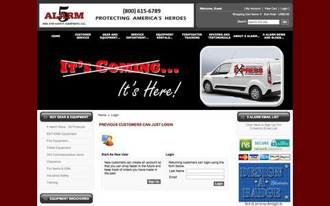 Screenshot of Login Page 5alarm.com - Fire Equipment - captured Oct. 7, 2014